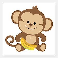 """Boy Monkey Square Car Magnet 3"""" x 3"""""""