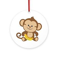 Boy Monkey Ornament (Round)
