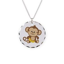 Boy Monkey Necklace Circle Charm
