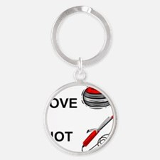 curling-not-curling-white Round Keychain