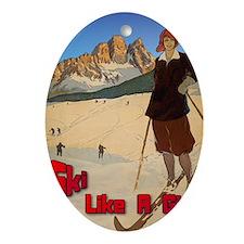 ski-girl-like-a-girl Oval Ornament