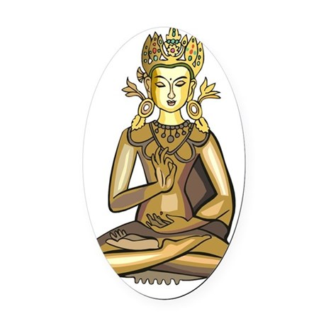 buddha1card Oval Car Magnet