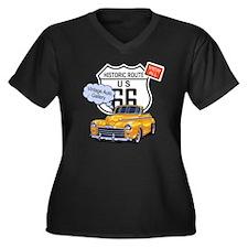 vintage-auto Women's Plus Size Dark V-Neck T-Shirt