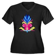 lotus-flower Women's Plus Size Dark V-Neck T-Shirt