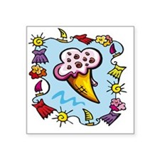 "ice-cream Square Sticker 3"" x 3"""