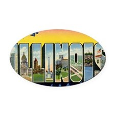 illinois Oval Car Magnet