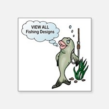 "fish-bait-sucks-section Square Sticker 3"" x 3"""