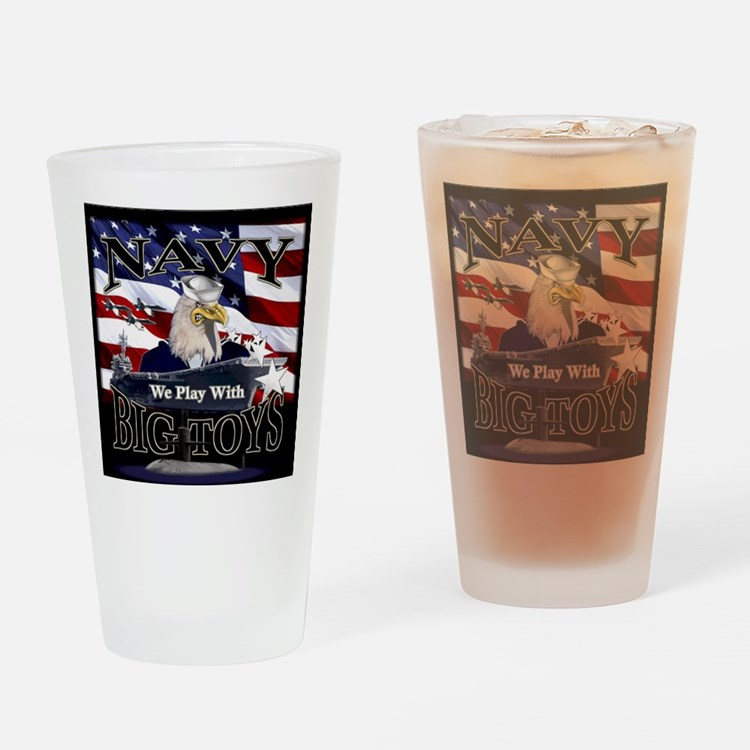 navy-eagle2-tile Drinking Glass