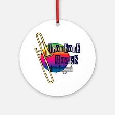 21064936-trombone-rocks Round Ornament