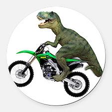 Tyrannosaurus Rex On Motorcycle Round Car Magnet