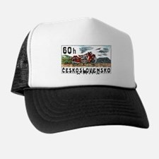 1975 Czech Jawa Motorcycle Postage Stamp Trucker Hat