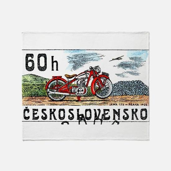 1975 Czech Jawa Motorcycle Postage Stamp Throw Bla
