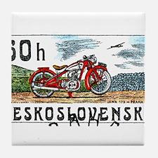 1975 Czech Jawa Motorcycle Postage Stamp Tile Coas