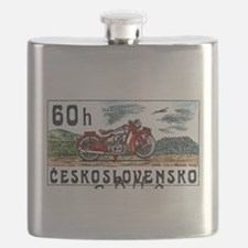 1975 Czech Jawa Motorcycle Postage Stamp Flask