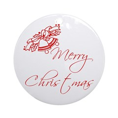 Merry Christmas Bells Ornament (Round)