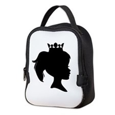 Black Silhouette Princess Neoprene Lunch Bag