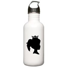 Black Silhouette Princess Sports Water Bottle