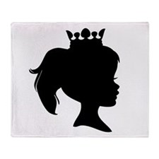 Black Silhouette Princess Throw Blanket