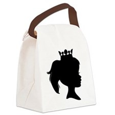 Black Silhouette Princess Canvas Lunch Bag