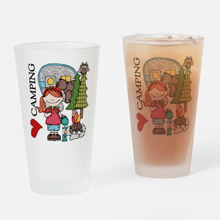 Redhead Girl Loves Camping Drinking Glass