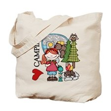 Redhead Girl Loves Camping Tote Bag