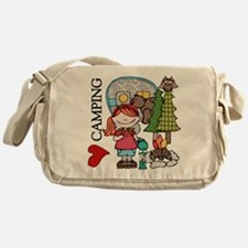 Redhead Girl Loves Camping Messenger Bag