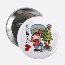 """Redhead Girl Loves Camping 2.25"""" Button"""
