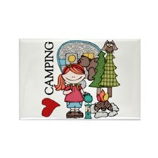 Redhead Girl Loves Camping Rectangle Magnet (10 pa