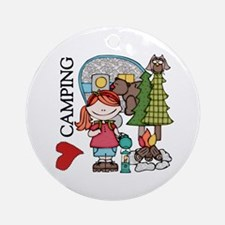 Redhead Girl Loves Camping Ornament (Round)