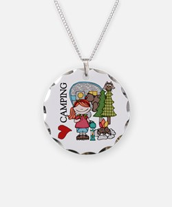 Redhead Girl Loves Camping Necklace