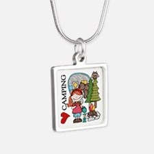 Redhead Girl Loves Camping Silver Square Necklace