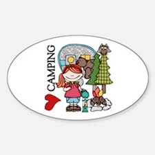 Redhead Girl Loves Camping Decal
