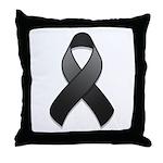 Black Awareness Ribbon Throw Pillow