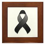 Black Awareness Ribbon Framed Tile