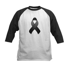 Black Awareness Ribbon Kids Baseball Jersey