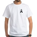 Black Awareness Ribbon White T-Shirt