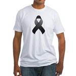 Black Awareness Ribbon Fitted T-Shirt