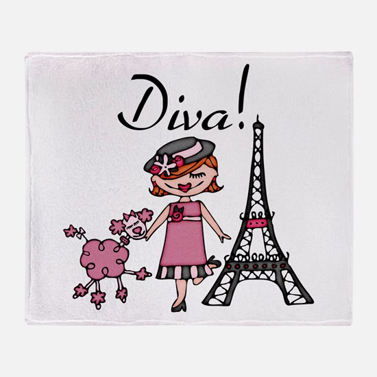 Red Haired Diva Throw Blanket