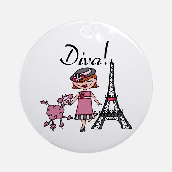 Red Haired Diva Ornament (Round)