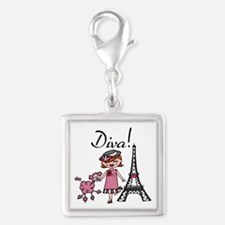 Red Haired Diva Silver Square Charm