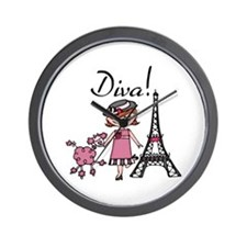 Red Haired Diva Wall Clock