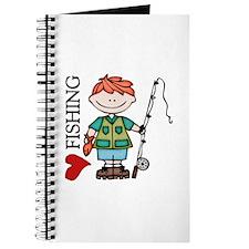 Redhead Boy Love Fishing Journal