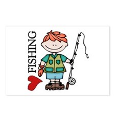 Redhead Boy Love Fishing Postcards (Package of 8)