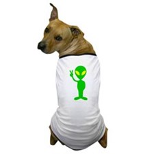 Green Space Alien Peace Sign Dog T-Shirt