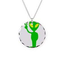 Green Space Alien Peace Sign Necklace