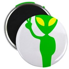 "Green Space Alien Peace Sign 2.25"" Magnet (10 pack"