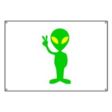 Green Space Alien Peace Sign Banner