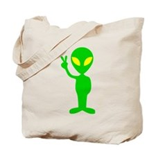 Green Space Alien Peace Sign Tote Bag