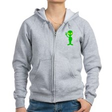 Green Space Alien Peace Sign Zip Hoodie