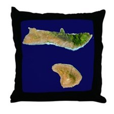 Moloka`i & Lana`i from Landsat Throw Pillow